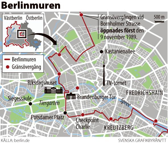 Berlinmuren Kort Bexdyie